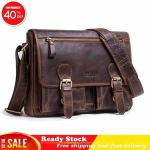 Luxury brand Crazy Horse messenger bag men Leather Single Shoulder Package Oblique Satchel Genuine Male briefcase Free shipping