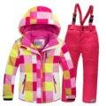 2016 детей лыжный костюм набор утолщение водонепроницаемый девочка-подросток мальчик холодной доказательство верхняя одежда ветрозащитный зимние костюмы для детей