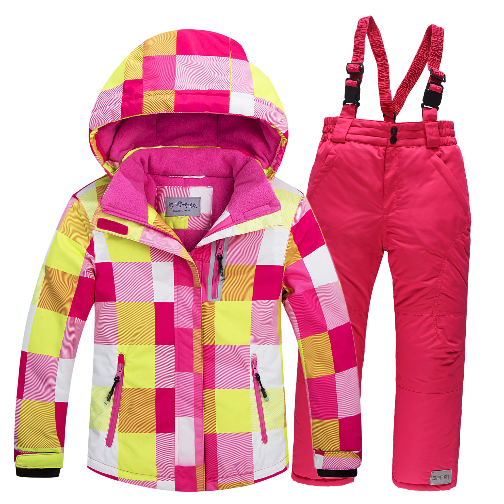 2017 Children Ski Suit Set Thickening Waterproof Teenage Girl Boy Cold-proof Outdoor Clothes Windproof Winter Suits For Kids