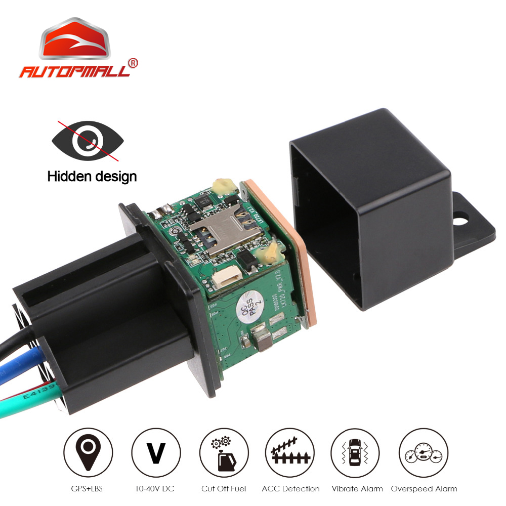 Relay GPS Tracker Car GPS Locator Cut Off Oil Fuel Hidden Design GSM GPS Google Maps Real-time Car Tracker Shock Alarm Free APP(China)