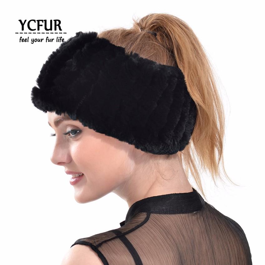 YCFUR Mulheres Hairband Headband Handmade Malha Real Rex Rabbit Fur ... e44e3c53881