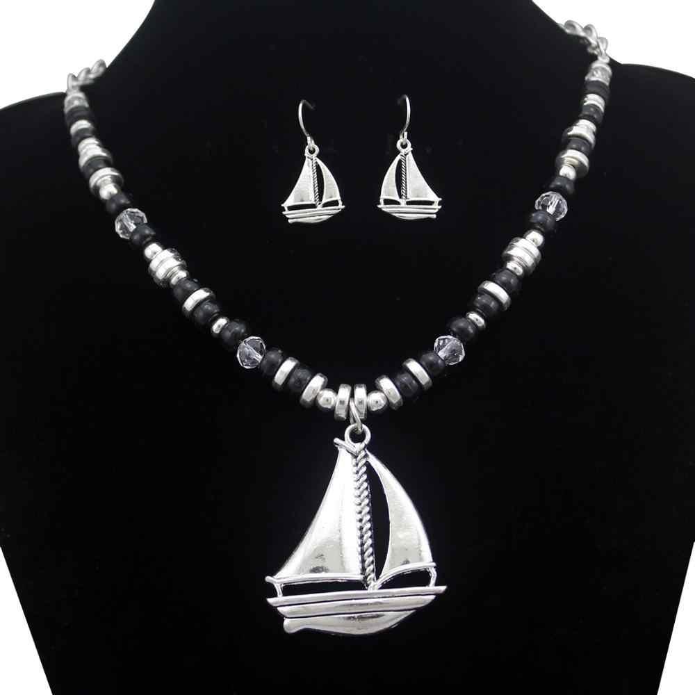 Nautical Yacht Pirate Sail เรือ Clipper ลูกปัด Bib Beach ต่างหู Dangle ต่างหูสร้อยคอชุดเครื่องประดับ