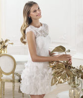 2014 Summer New White Or Ivory Lace Short Style Wedding Dress Bridal Party Gown With Lucency