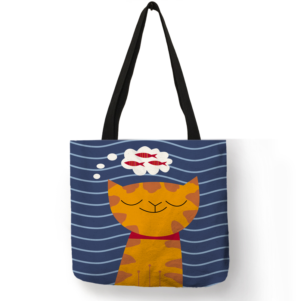 Japanese Lucky Cat Tote Bag Linen Shopping Bags With Print Women Fashion Handbags tote bag