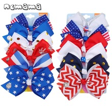 ncmama 6Pcs/set 4th of July Hair Bows for Girls 5 Inch Barrettes Kids Independence Day Festival Party Accessories