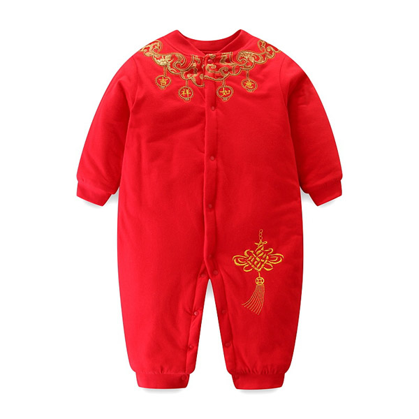 Baby autumn winter cotton-padded jacket red jumpsuit Chinese style children's tang costume Christmas child thick climbing suit