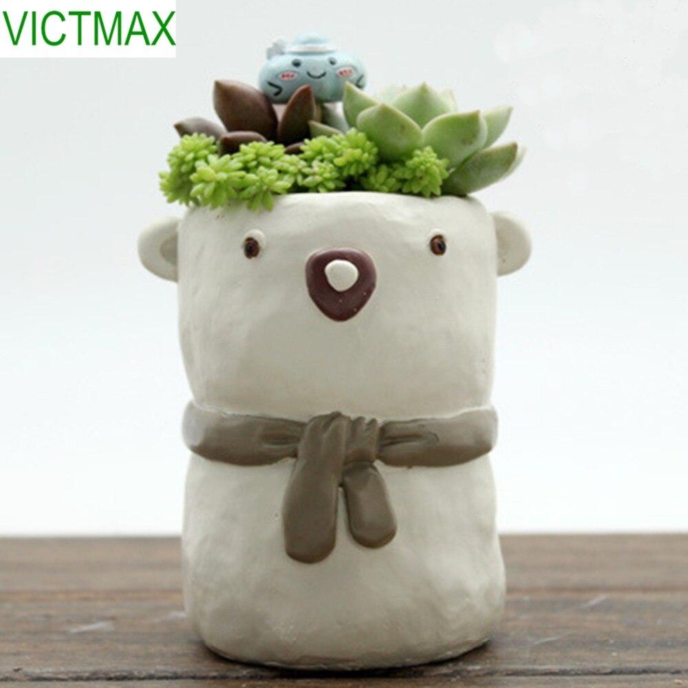 VICTMAX Cartoon Pattern Resin Succulent Plant Pot Home Flower Planter Garden Flowerpot (No Plants)