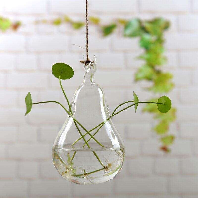 """4/"""" Clear Glass Hanging Vase Bottle for Plant Flower Garden Table Decor Dia"""