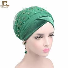2017 Baru mewah massal emas beaded mesh head wrap nigeria turban wanita jilbab jilbab jilbab panjang kepala