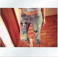 Plus size 2015 new summer autumn pencil ripped destroyed capris jeans for girls women with printed cartoon animal mouse