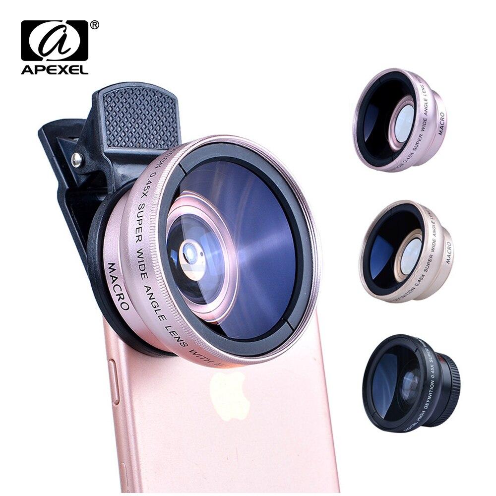 APEXEL lentes de cámara 0.45X gran angular 12.5X Macro 2in1 lente profesional HD Kit para iphone x 7 8 6 samsung s9 s8 más