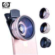 Lentes apexel 2 em 1, ângulo aberto 0,45x + lente macro 12.5x, profissional, hd lente de câmera para celular, para iphone 8, 7, 6s plus xiaomi samsung lg