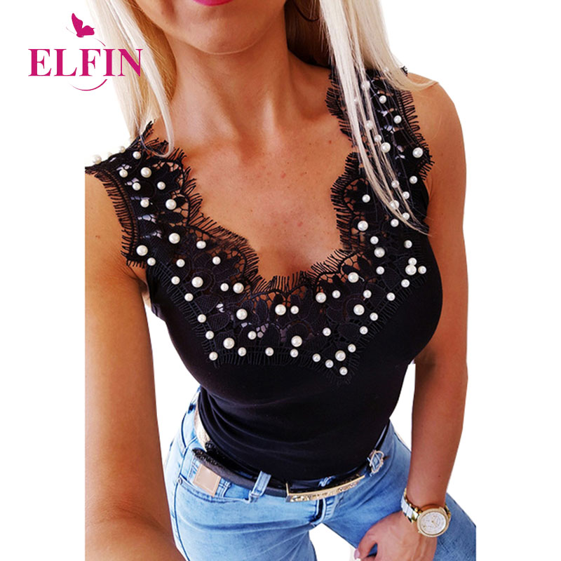 Tshirt Femme V Neck Beaded Lace Patchwork T-shirt Women Summer 2019 Sleeveless Elegant Office Ladies Tops Korean Clothes SJ3310R
