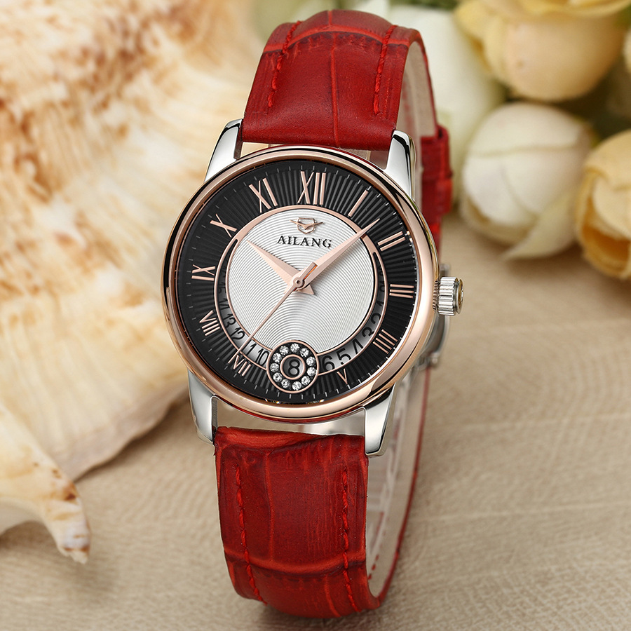 AILANG Classic Roman Number Women Business Dress Watches Auto Self Winding Real Leather Wristwatch Calendar Relojes 3ATM NW7192 luxury men brand crystals dress watches self winding mechanical 316l band calendar wristwatch saphir relojes analog 3atm nw4239