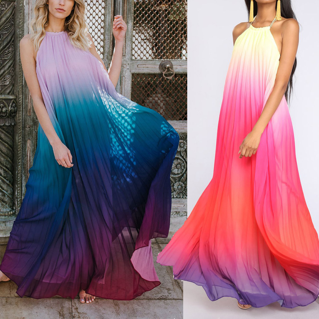 Sexy Dress Tie Dye Dress Vestido De Festa Longo 2019 Women's Sexy Fashion Halter Beach Dress Hanging Neck Chiffon Dress Robe Z4