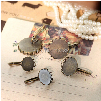 Wholesale Drop Earrings 500pcs/lot 12 14 16 18 20mm round classic lace antique bronze Plated Pad French Earing base freeshipping