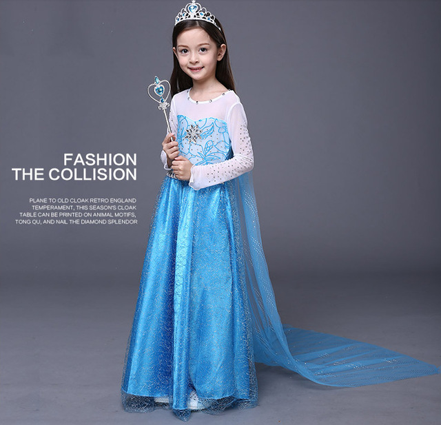 Cosplay Snow And Ice Colors Elsa Long Sleeve Dress Carnival Christmas Costume For S