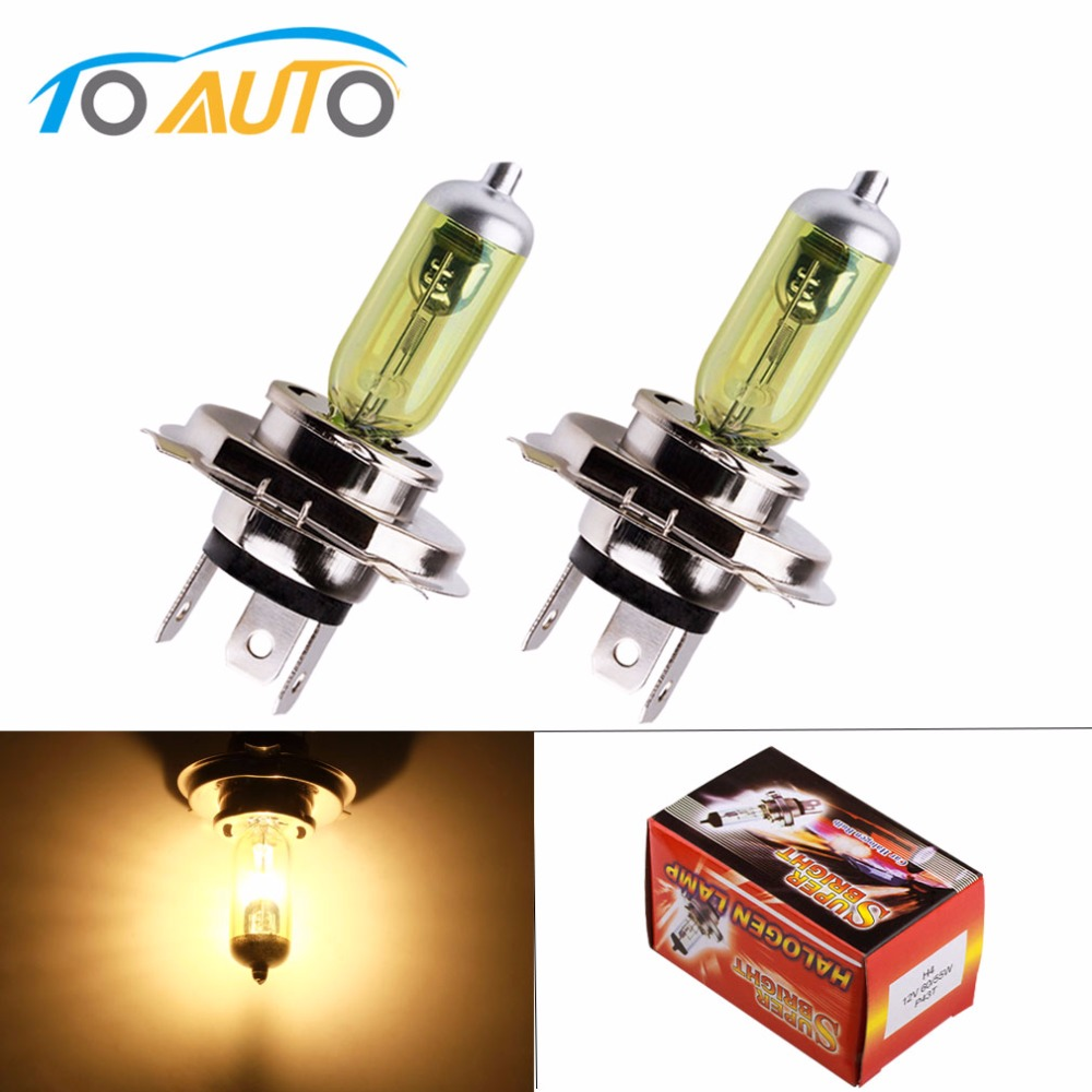 2pcs 12V <font><b>H4</b></font> <font><b>55W</b></font> Yellow Fog Lights Halogen Bulb High Power <font><b>Lamp</b></font> Car Light Source parking Head auto <font><b>60</b></font>/<font><b>55W</b></font> 3000K image