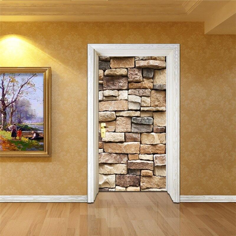 Creative Rock Texture 3D View Door Decoration Stickers Self Adhesive DIY Door Renovation Wallpaper Personality Door Mural Decals