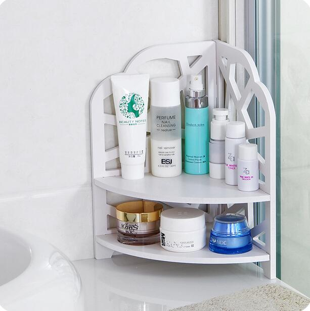 Desktop Cosmetics Organizer Bathroom Storage Rack Corner Shelf-in ...