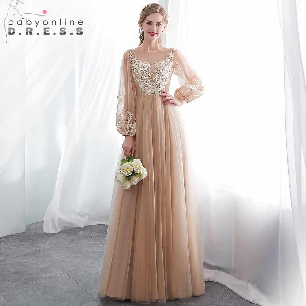 36224a86bd51d3d 2019 длинное вечернее платье белый длинный рукав аппликация вечернее платье  ChampagneTulle вечерние платья длинное вечернее платье