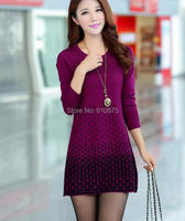 D50 Wholesale autumn winter plus size loose woolen warm Sweaters women long cashmere dot Jacquard Elasticity sweaters