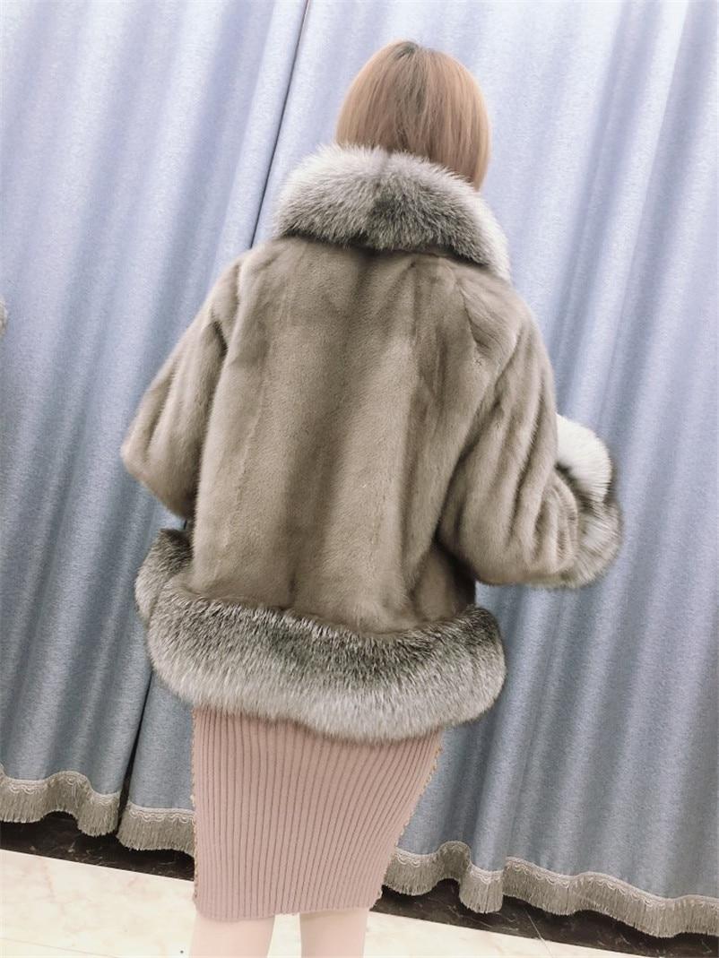 D'hiver Réel Luxe C171 Argent Manteaux Manteau Véritable Conception Col Fox Vison Silver Naturelle De Fourrure Avec Femmes Veste Nouveau RTrRU0