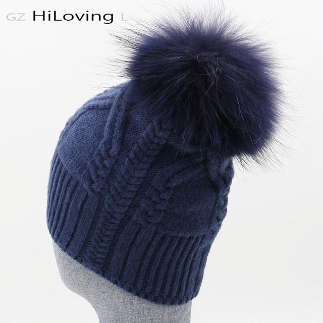 2016 Novo Estilo de Chapéus de Inverno Para As Mulheres Da Moda 100% Lã & pele Pom Pom Gorros Chapéus Pompons De Pele Azul Marinho Camisola Torção chapéus
