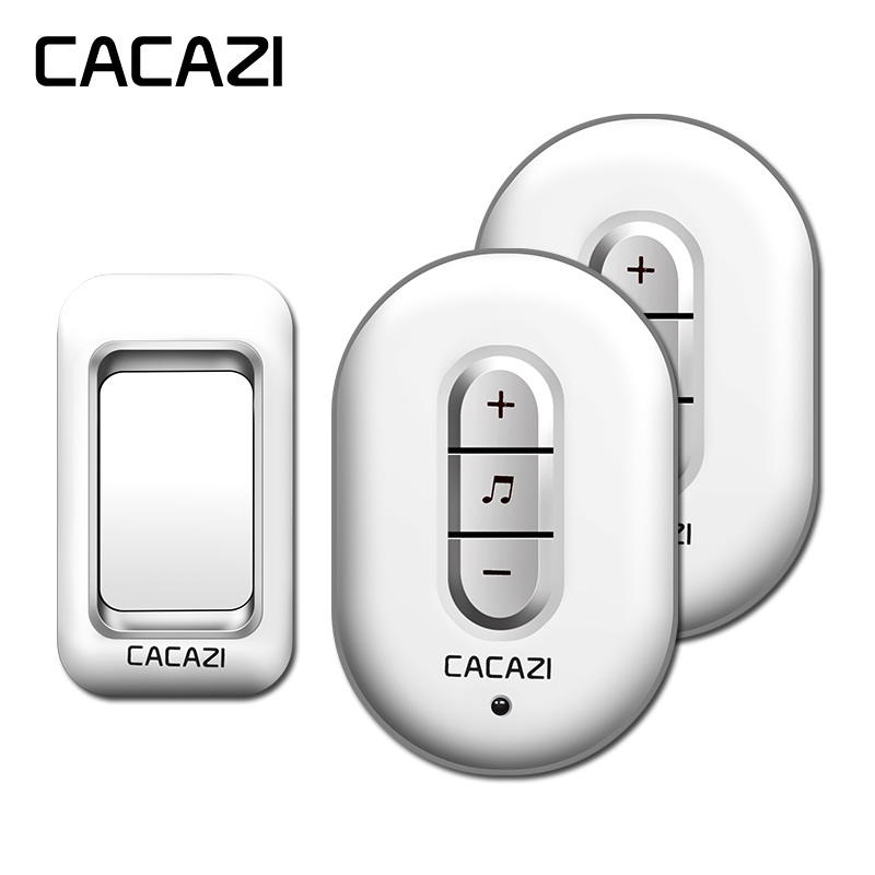 CACAZI wireless doorbell AC 110-220V waterproof 300M remote 1 transmitter+2 receivers door chime,48 melody 6 volume door ring cacazi wireless doorbell 300m remote 3 waterproof ip44 transmitters 4 ac plug in receivers door bell 48 chime 6 volume door ring