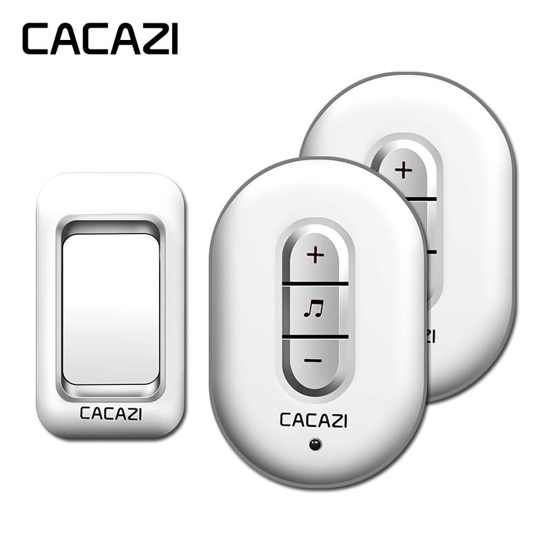 CACAZI wireless doorbell AC 110-220V waterproof 300M remote 1 transmitter+2 receivers door chime,48 melody 6 volume door ring