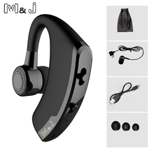 Sale M&J V9 Handsfree Business Bluetooth Headphone With Mic Voice Control Wireless Bluetooth Headset For Drive Noise Cancelling