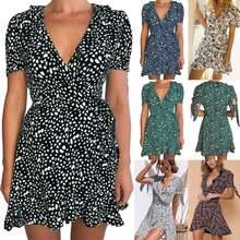 Женское летнее платье в горошек винтажное пляжное с коротким