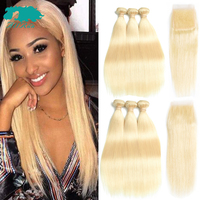 Blonde Hair Extension 100% Human Hair Bundles With Closure Brazilian Hair Weave 3 Bundles Straight Bundles With Closure Remy