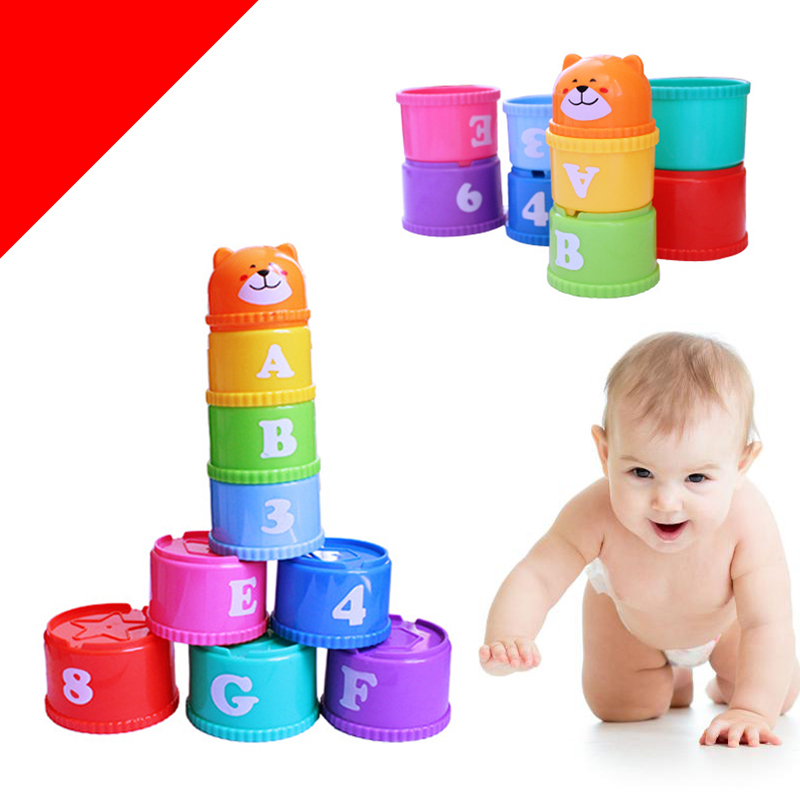Fun Cartoon Nesting Stacking Toys Baby Kids Learning English Letters Numbers Geometry Educational Entertainment Stacked Blocks