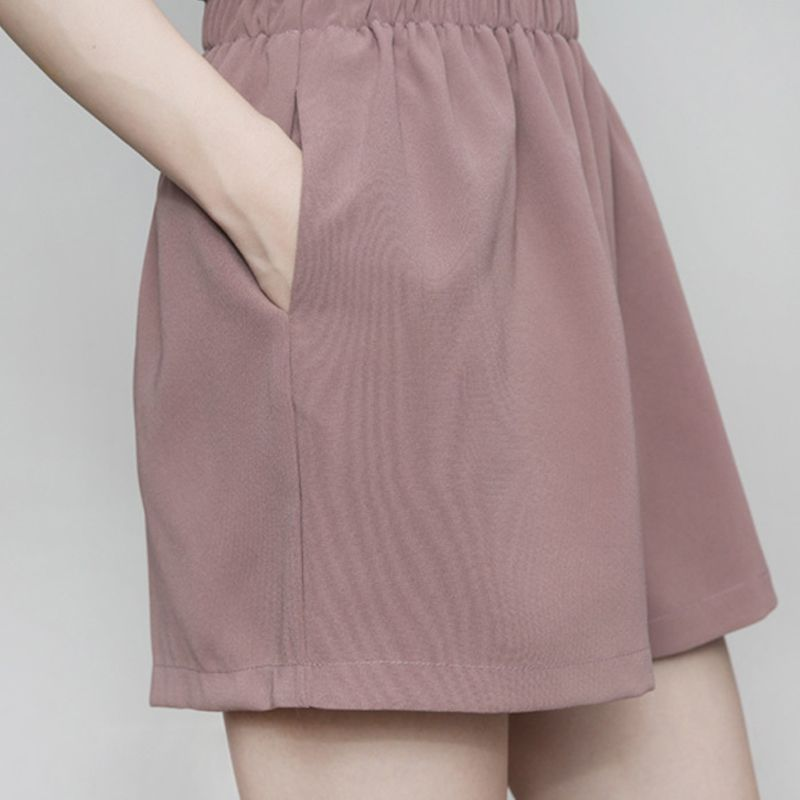 New Pocket Skirt Shorts For Women Ruffles High Waist Summer Wide Leg Shorts A-line Shorts Casual Loose Solid Cortos Mujer