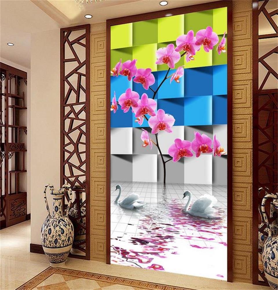 Custom 3d photo wallpaper porch room mural stereo orchid flower swan painting photo sofa background wall non-woven wall sticker original 3 in 1 washable rechargeable electric shaver triple blade