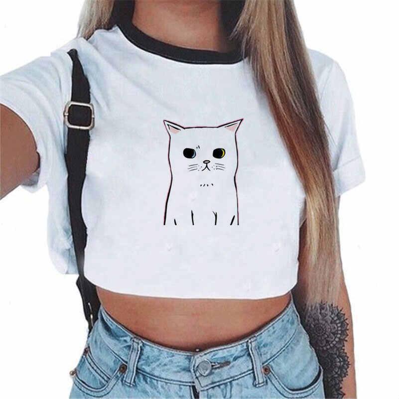 CDJLFH 2017 lato Harajuku krótkim rękawem kobiety T shirt nadruk kota styl luźne topy krótkie bluzki Kawaii T-shirt Sexy trójnik żeński topy