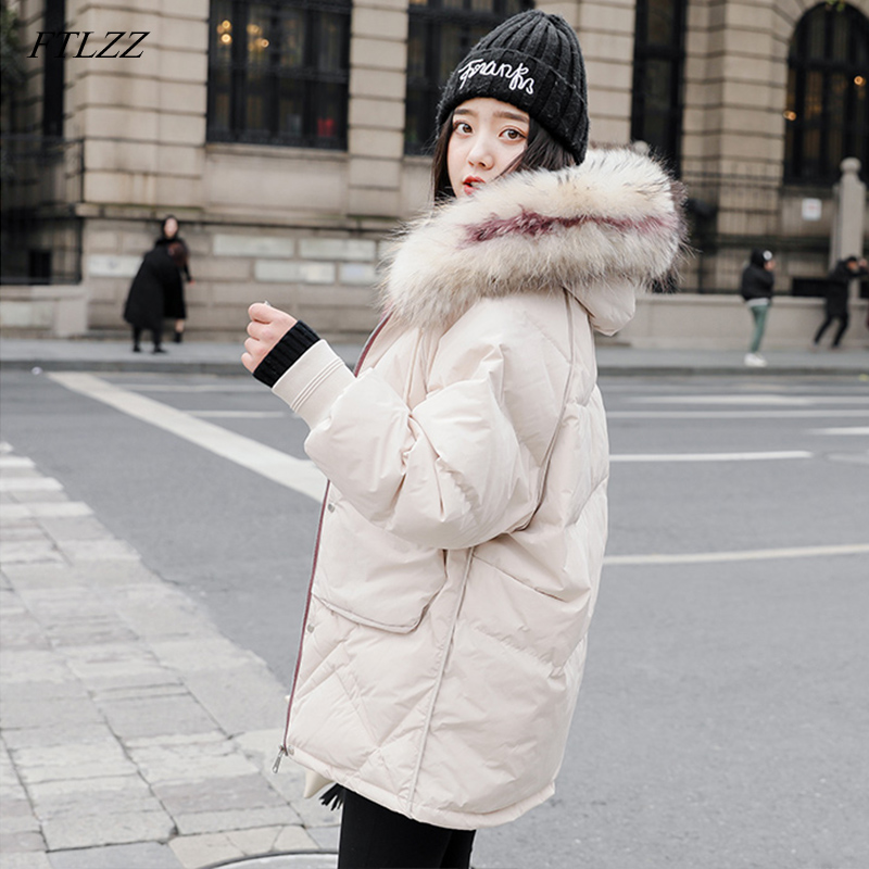 FTLZZ 2019 Women Winter Jackets White Duck   Down   Large Natural Raccoon Fur Hooded Parkas Warm Female   Down     Coat   Snow Outwear