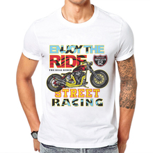 The Real Rider Motorcycle Design Men T Shirt Heavy Metal Man Tops Tee Short Sleeve 100 Cotton Street Racing Printed Mens T-Shirt