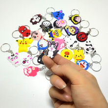 2018 mini size Cheese cat Cartoon cute key ring Anime Silicone Key chains Funny animal keychains key holder kids Christmas gift(China)