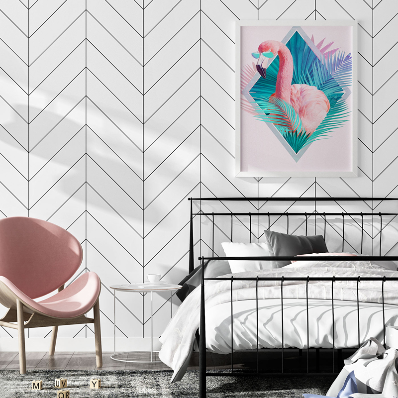 Modern Black White Geometric Stripe Wallpaper PVC Waterproof Wall Papers Home Decor Living Room Sofa Bedroom TV Background Decor