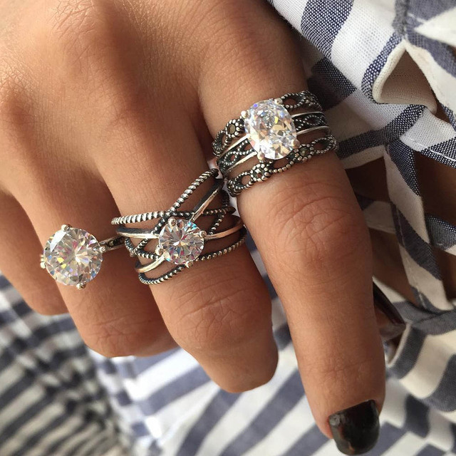 RAVIMOUR 3pcs Big Cubic Zircon Wedding Knuckle Rings for Women Silver Color Crys