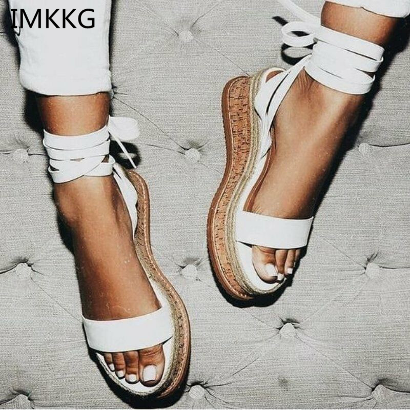 IMKKG Summer White Wedge Espadrilles Women Sandals Open Toe Gladiator Sandals Women Casual Lace Up Women Platform Sandals m364