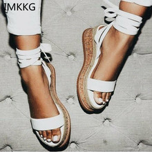 IMKKG Summer White Wedge Espadrilles Women Sandals Open Toe Gladiator Sandals Women Casual Lace Up Women Platform Sandals m364(China)