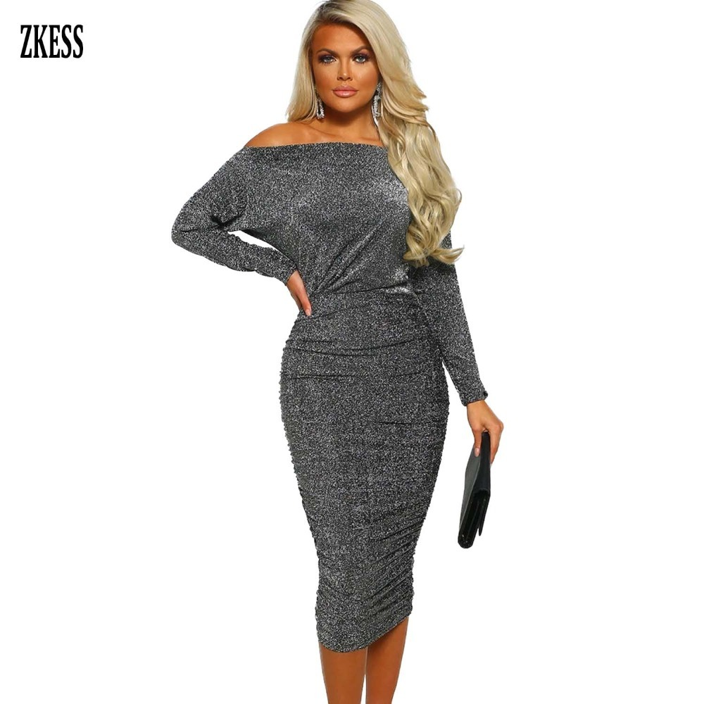 974a42d392bd ZKESS Women Gray Diamond Lady Lurex Ruched Spring Midi Dress Sexy Off  Shoulder Long Sleeved Party