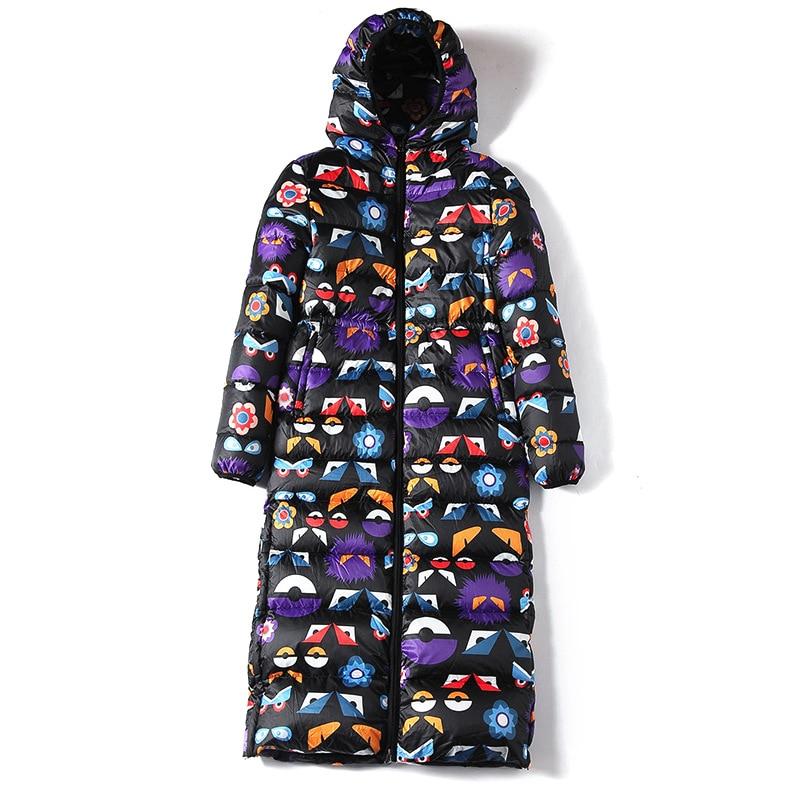 The D'hiver Picture Cz305 Imprimer Veste Grande As Mince Taille Le Mode Vers Épaissir Survêtement Chaud Bas Manteau Femmes Tempérament 2018 Long 5qRHz