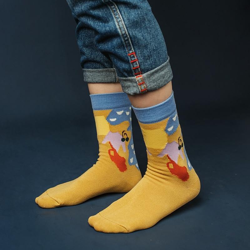SP&CITY Hot Sell Women Cartoon Patterned Socks Ins Style Cotton Harajuku Funny Hipster Creative Socks Female Chic Soft Art Sox