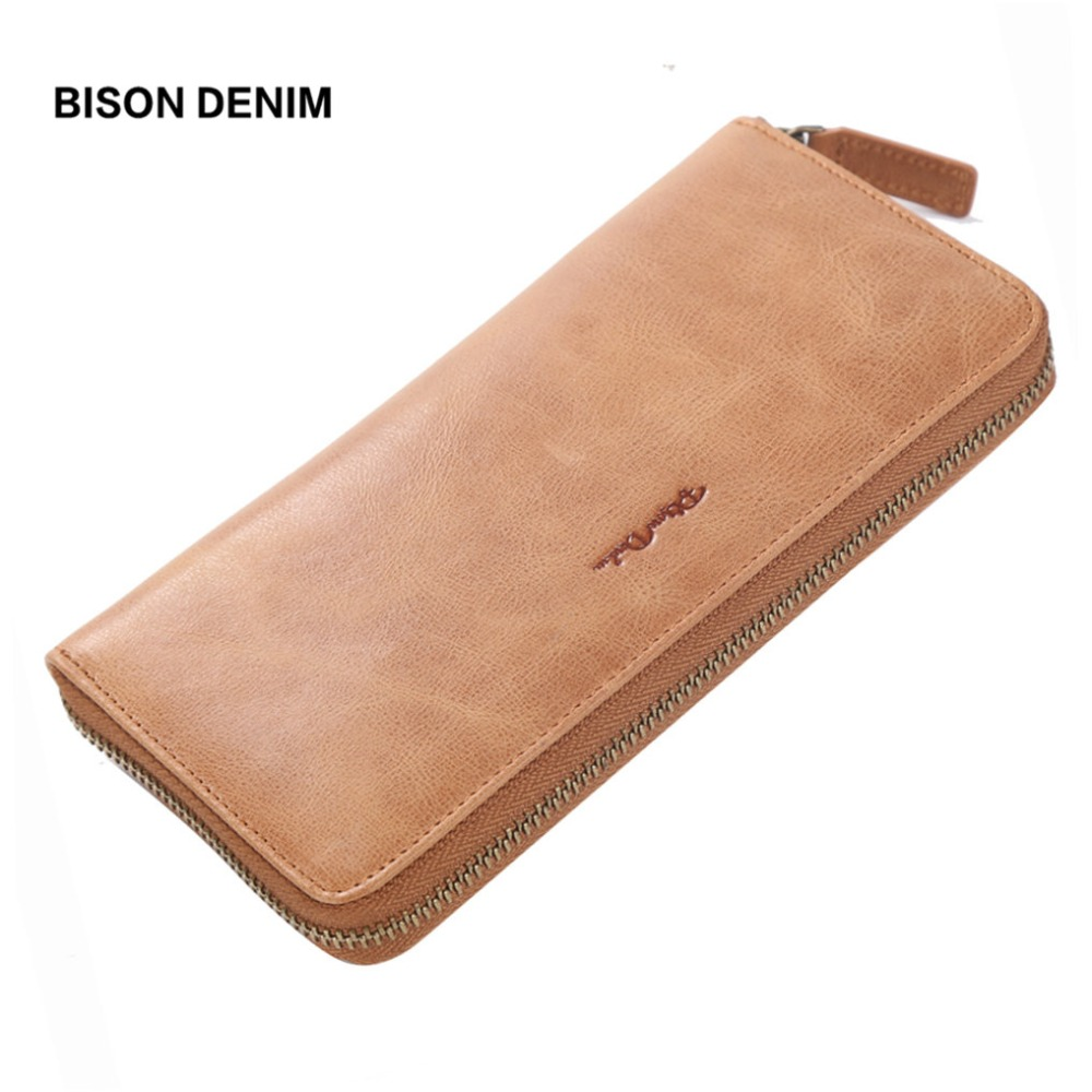 BISON DENIM Genuine Leather Long Wallet Women Vintage Women Purse Zipper Clutch Card Holder Wallet carteira feminina W8106-1V famous brand 2017 genuine leather women wallet long purse vintage solid cowhide multiple cards holder clutch carteira feminina