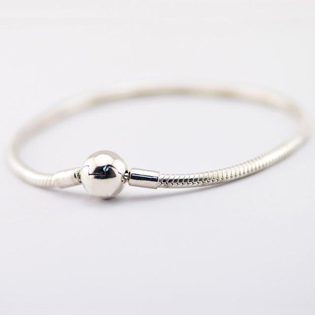 Jóias de prata Pulseiras de Prata Pulseiras de cadeia Cobra pulseira de prata com rodada fecho Compatível com Europeu de Jóias Por Atacado