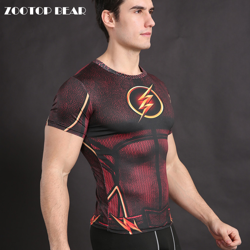 Flash   T     shirt   Superhero Costume Cosplay   T  -  Shirt   Compression   Shirt   Fitness Tops Crossfit Camiseta Bodybuilding Tees ZOOTOP BEAR